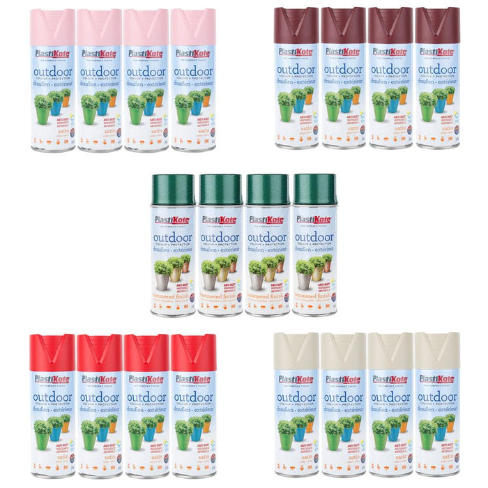 Pack of 4 Plasti-Kote Outdoor Colour + Protection Spray Paint Various Colours