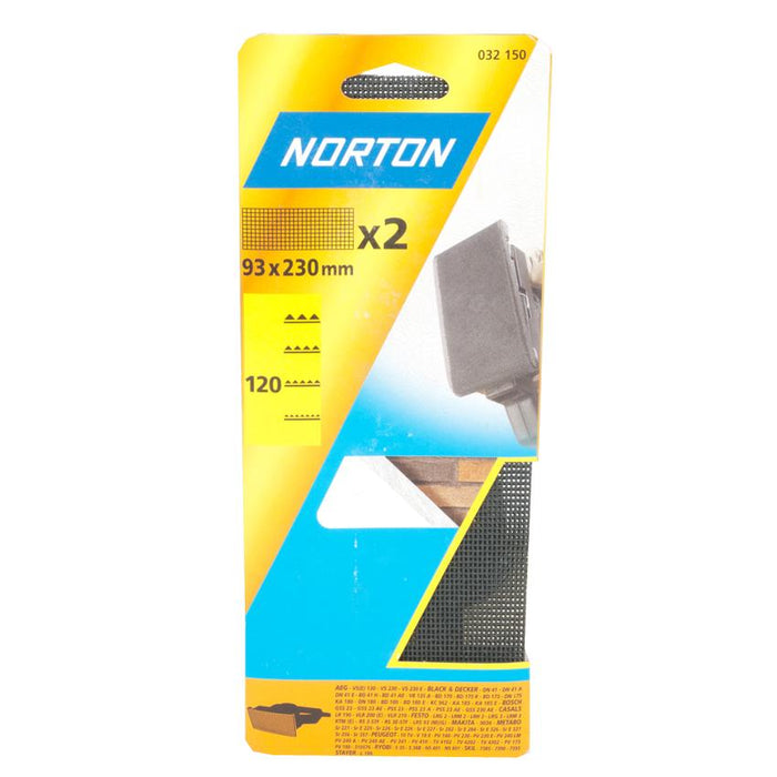 Norton Sandpaper Sheet Fine Grit 120 - Pack of 2 - 93 x 230mm