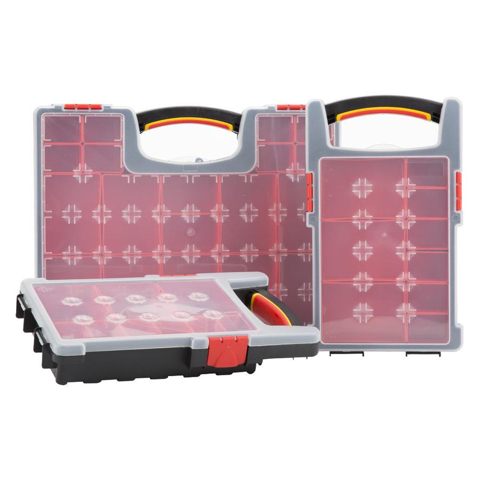 3 Piece Tool Organiser Set - Crafts / DIY Storage - Red & Black - 38 Compartments