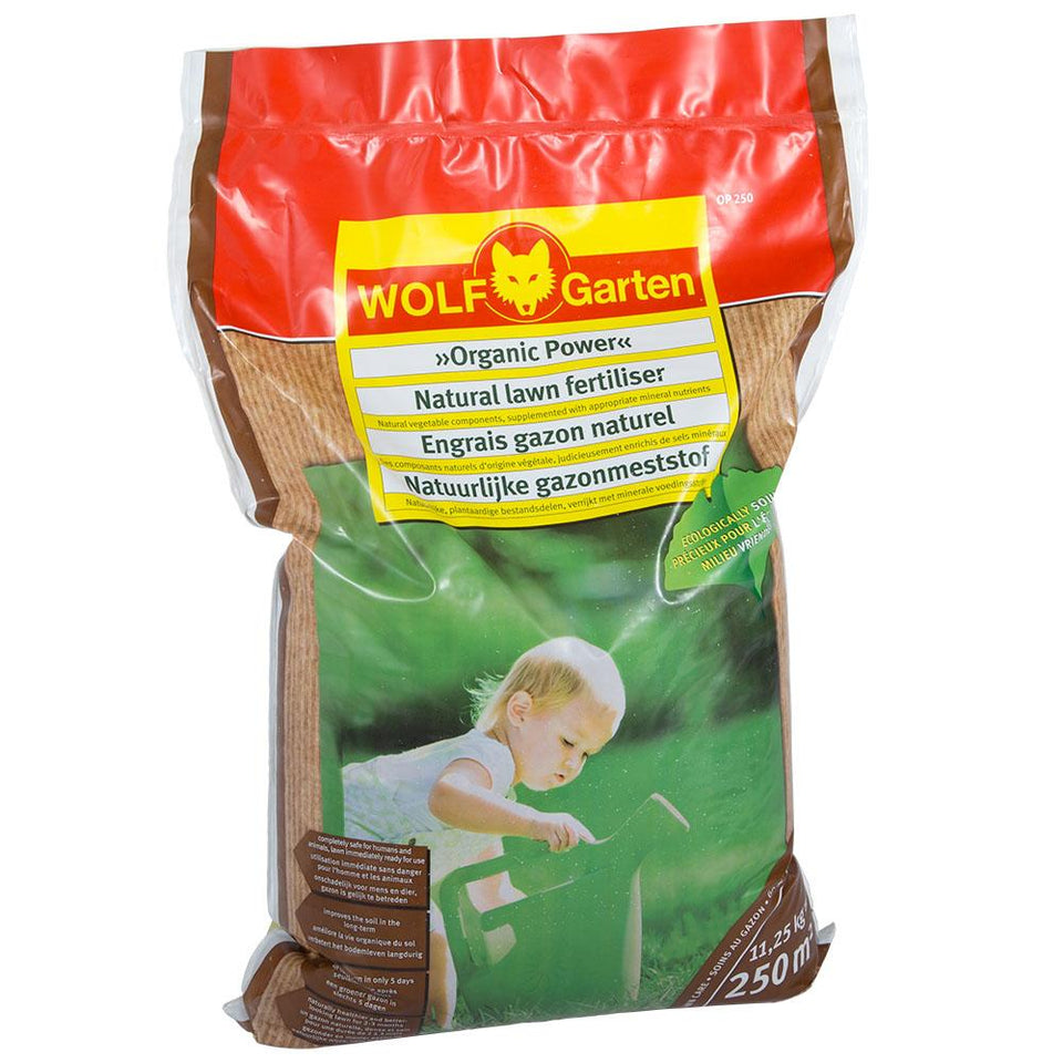 Gardening - Wolf Garten Organic Power Natural Lawn Fertiliser - 11.25kg for 250m2