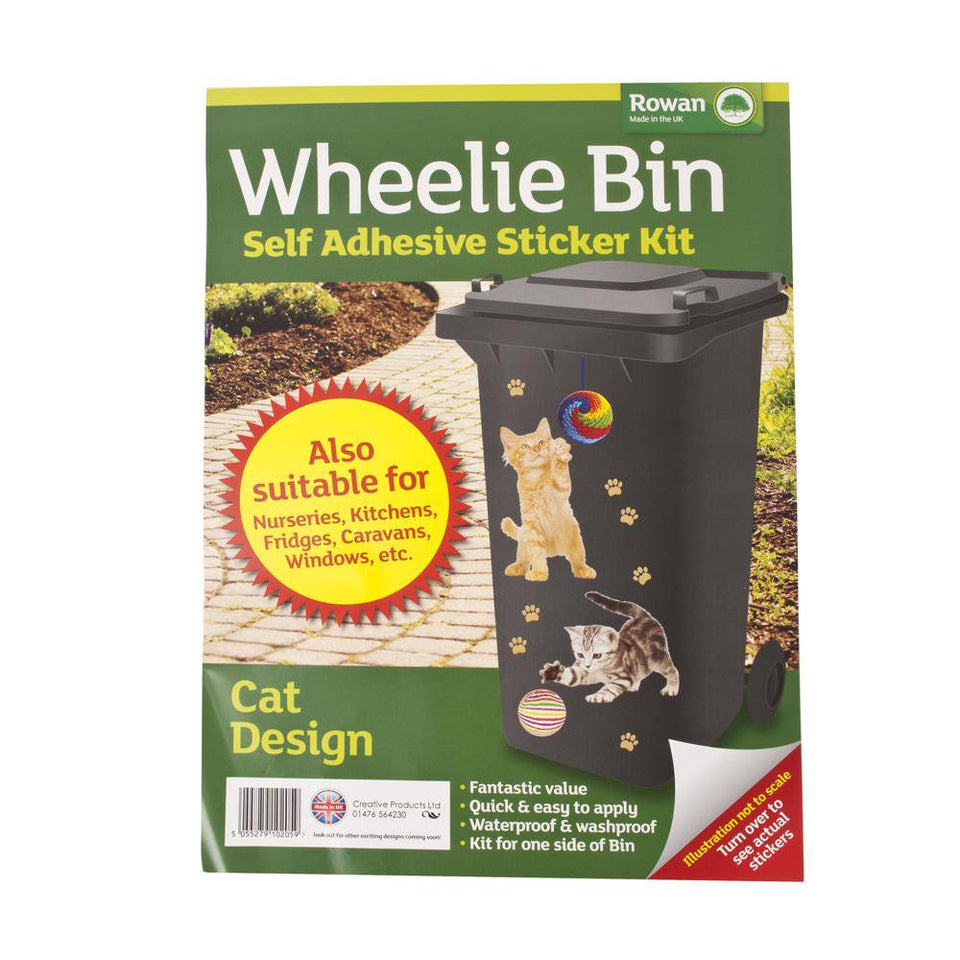 Gardening - 3 x Rowan Cat Design Wheelie Bin Stickers - Self Adhesive