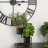 Garden - Dearhome 2 Piece Tower Table Plant Pot - Black