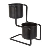 Dearhome 2 Piece Tower Table Plant Pot - Black