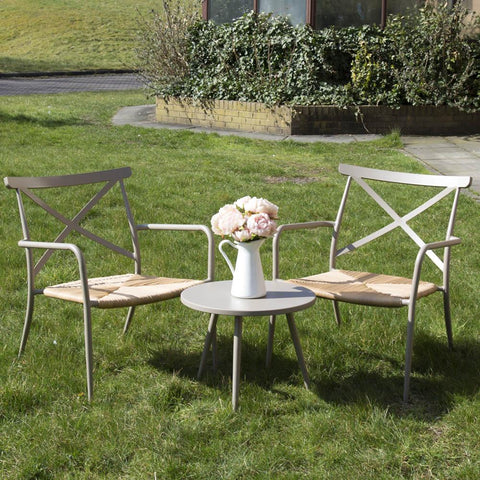 Oseasons Milos Round Side Table & 2 Chairs Set - Taupe