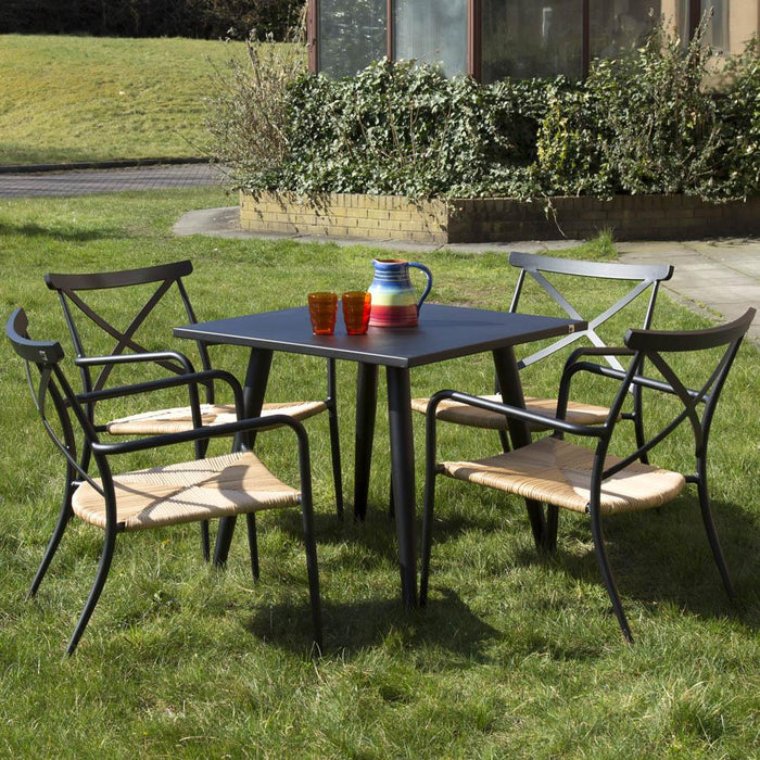 Garden Furniture - Oseasons Milos Square Dining Table, Side Table & 4 Chairs Set - Black