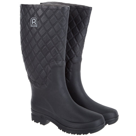 Rouchette Womens Patterned Wellington Boots - Black Wellies