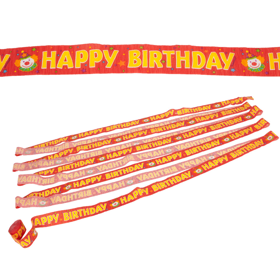 5 x Amscan Happy Birthday Crepe Streamer - Juggles Red - 42ft