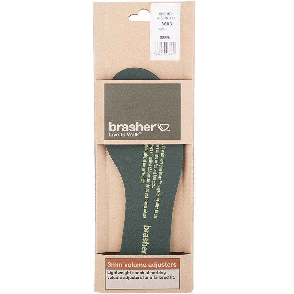 Brasher 3mm Lightweight Shoe Volume Adjusters Insoles - Green Various Sizes