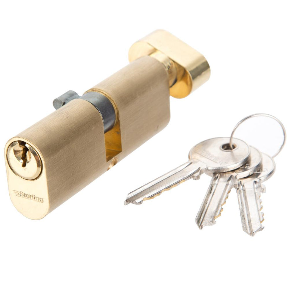 Sterling Thumbturn Oval Cylinder Lock - Brass - OTB78 - 5 Pin - 80mm