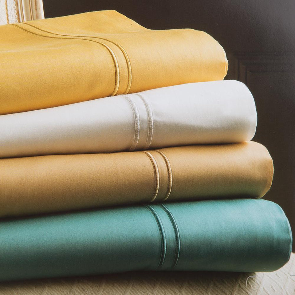 Textiles - Christy Luxury 100% Cotton Flat Bed Sheet - Gold - King - 260x270cm