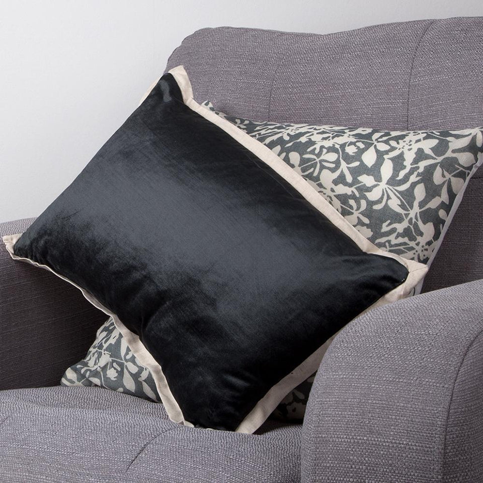Textiles - Christy Luxury Soft Cushion Home Decor Horizon Charcoal Black 42x30cm