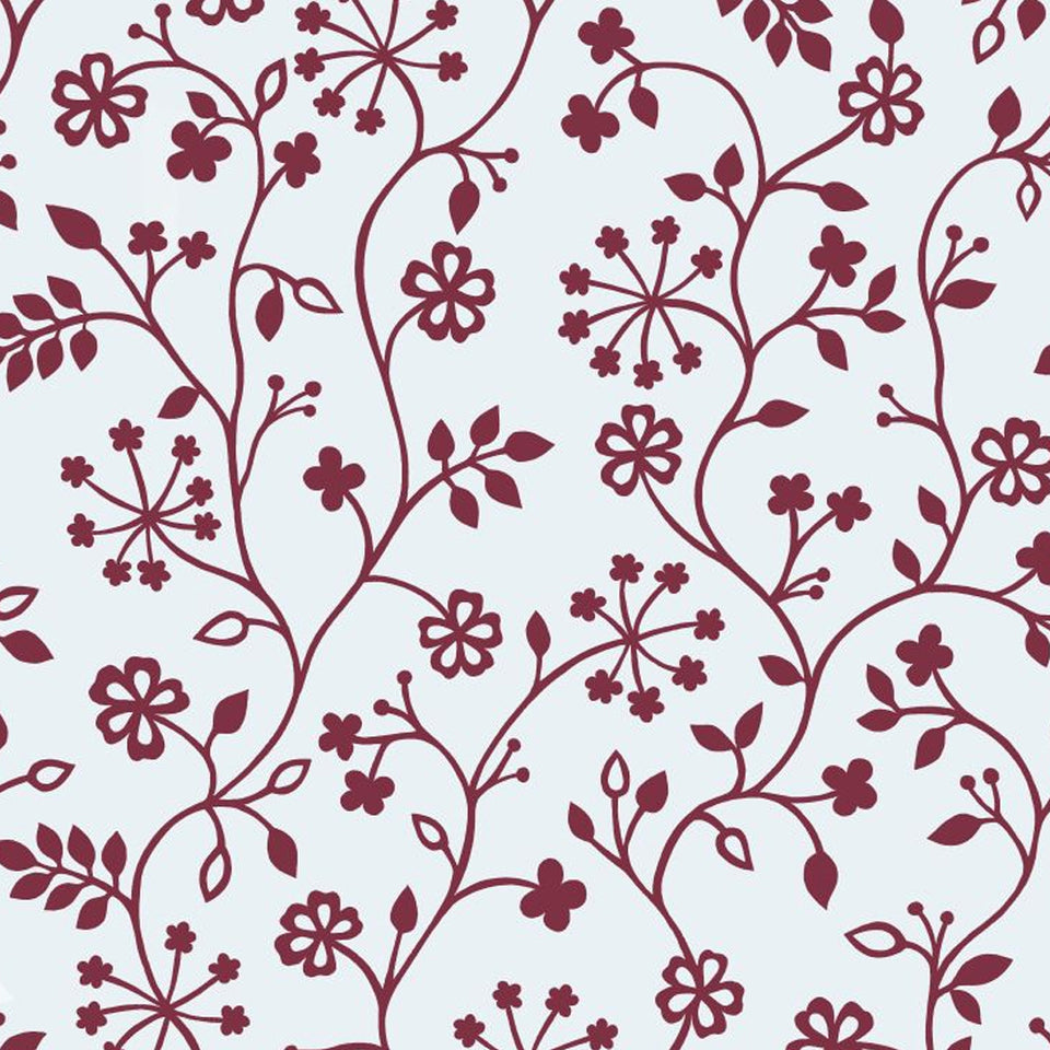 Decorative Glass Window Static Privacy Film - Red Floral - 45cm x 15cm