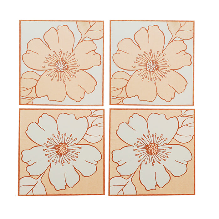 4 x Readyroll Self Adhesive Wall Stickers - Flower Orange/Yellow & Blue