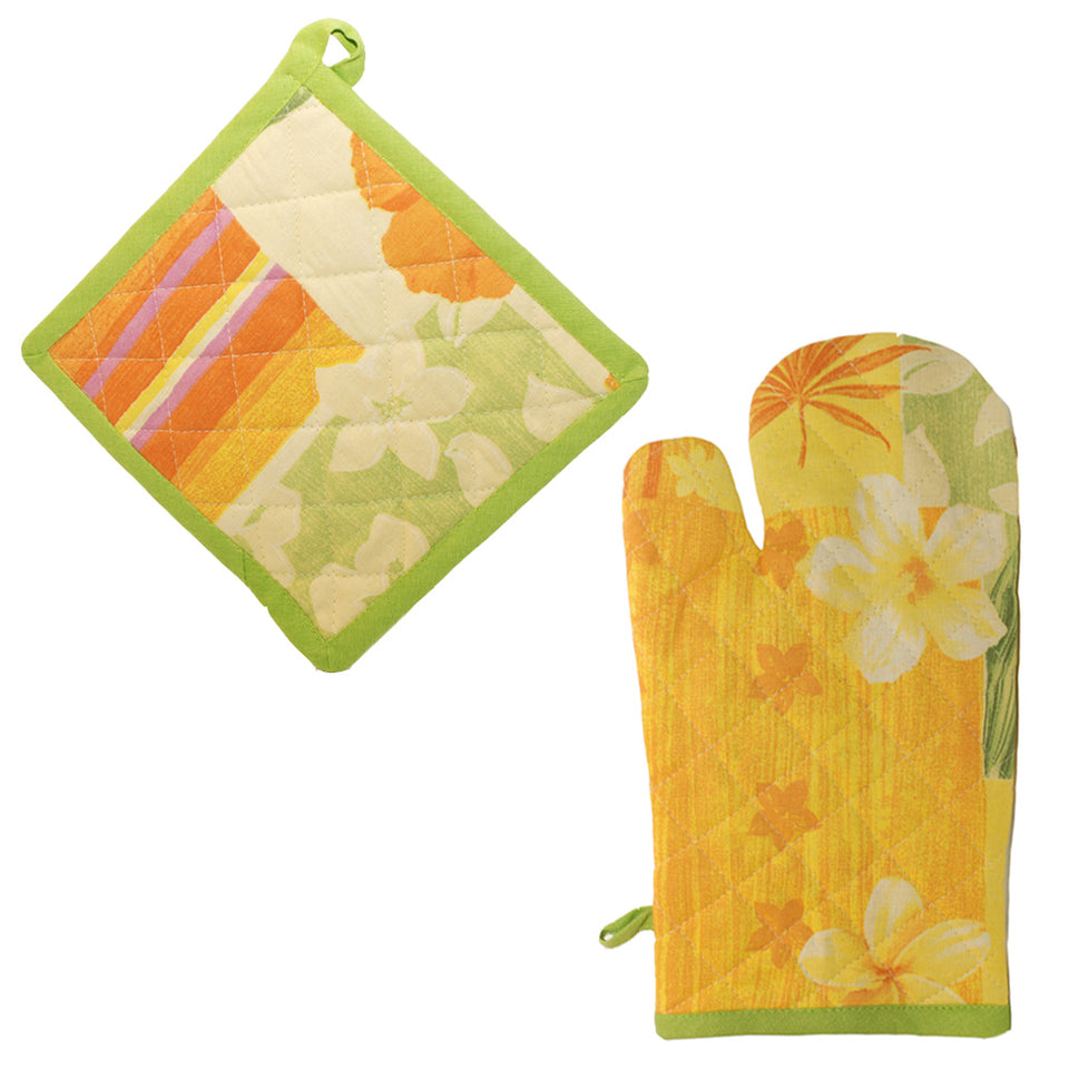 Kitchen - Oven Glove & Heat Resistant Pan Mat Kitchen Set - Floral Orange