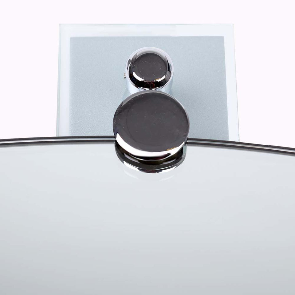 Bathroom - 2 Swivel Glass Mirror Holders Polished Chrome 8cm