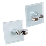 2x Modern Swivel Glass Bathroom Mirror Holders - Polished Chrome - 8cm