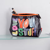 Bathroom - Cosmetic Wash Bag Love Your Stuff Black 22x13.5cm