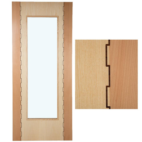 Solid Hardwood Interior Door Wood Finish Jig-Saw Pattern 35 x 1981 x 686mm