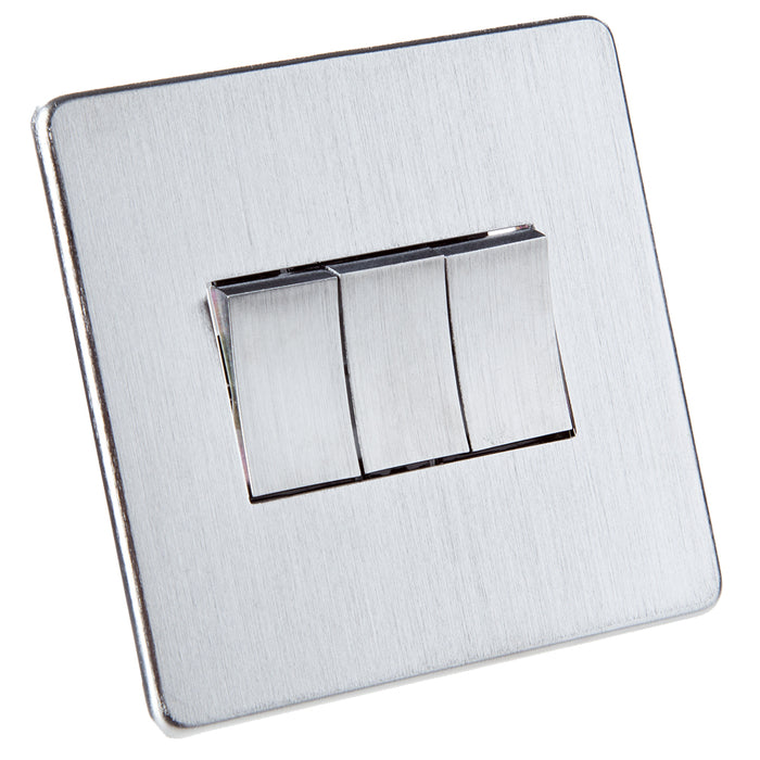 Crabtree Triple Light Switch - Stainless Steel Effect - 2 Way