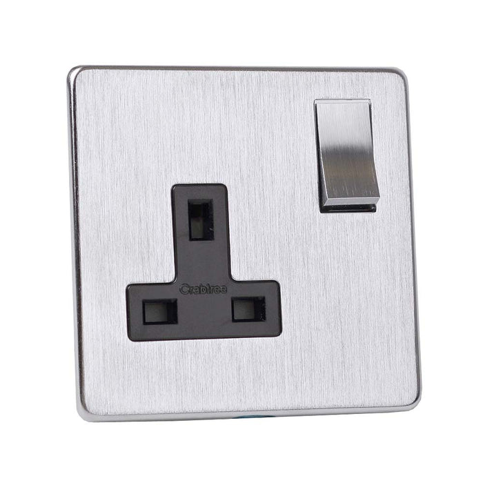 Crabtree Single Switched Plug Socket - Stainless Steel Effect - 13 Amp