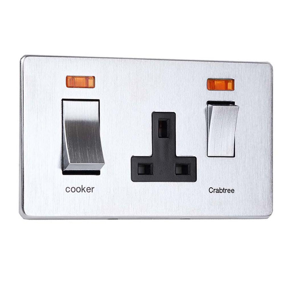 Crabtree Cooker Switch Socket & Neons - Stainless Steel Effect 45 Amp