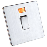 Crabtree Switch Double Pole & Neon - Stainless Steel Effect - 20 Amp