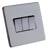 Crabtree Triple Light Switch - Black Nickel Finish - 2 Way
