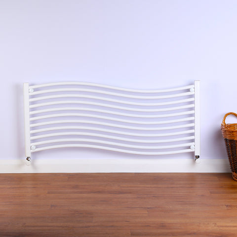 Heated Bathroom Radiator - Wave Design - White - 500 x 1200mm