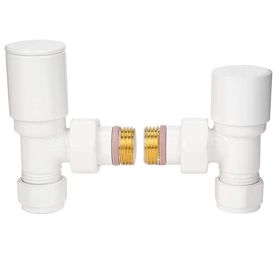 "Heating Supplies - Designer Manual Angled Radiator Valve Set - White Finish - 1/2"" x 15mm"