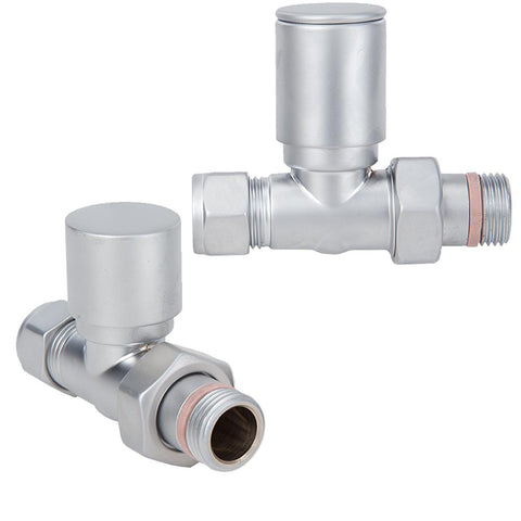 Designer Manual Straight Radiator Valve Set - Satin Chrome 1/2