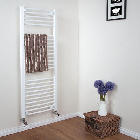 Bathroom Curved Towel Radiator White - H 730 x W 450mm