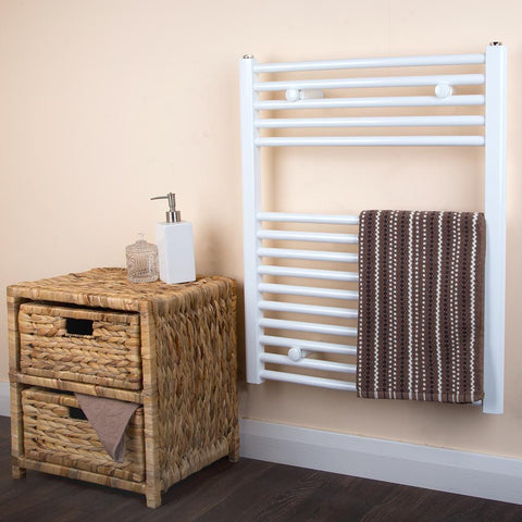 Bathroom Towel Radiator White - H 730 x W 600mm