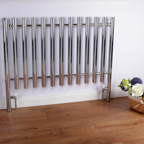 Heated Designer Fence Feature Radiator - Chrome - 800 x 1000mm