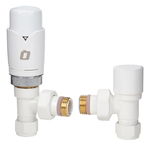 Angled Radiator TRV/Lockshield Valve Set - White - 1/2