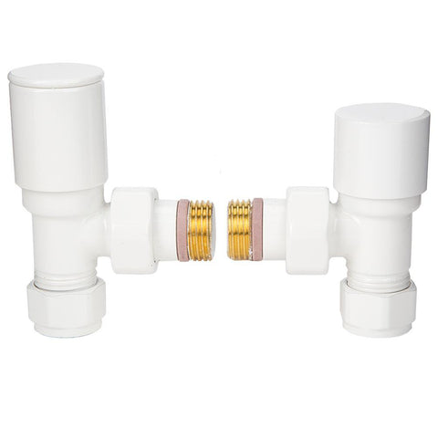 Manual Angled Home Radiator Valve Set - White - 1/2