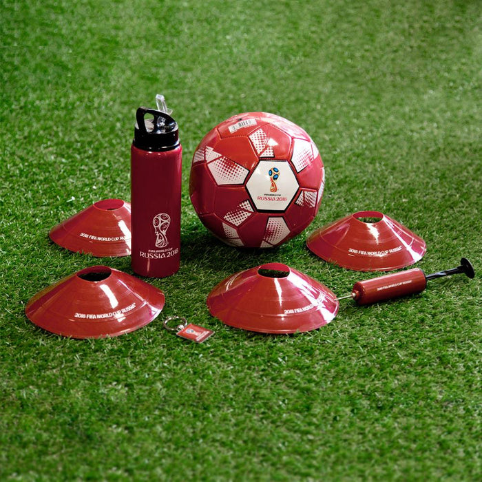 Sports - Fifa World Cup - Russia 2018 Official Licensed Product, Match Set, Set Includes: Size 5 Football - Fifa World Cup Russia 2018 Design, colour: Red, 4 x Cones, - 2018 Fifa World Cup Russia Design, colour: Red, Hand Pump 2018 Fifa World Cup Russia, Colour: Red, the ideal football gift, the perfect choice for training/Practice sessions.
