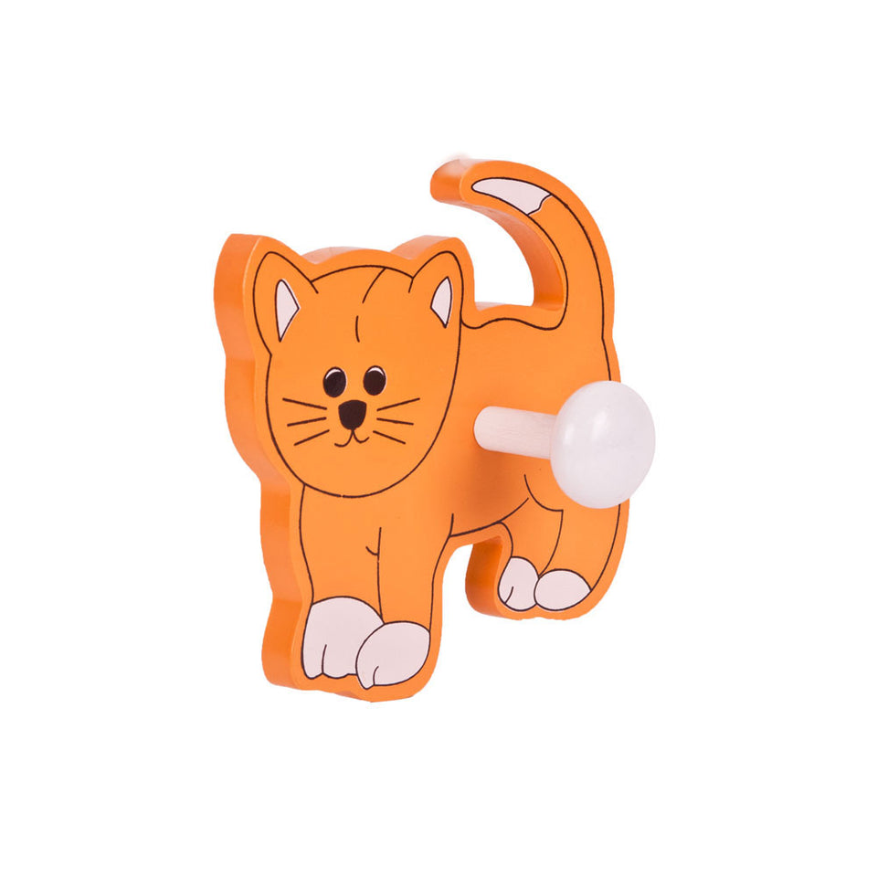 Children's Wooden Coat Peg - 1 Hook - Cat