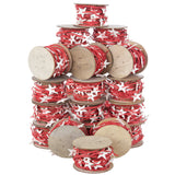 120m of Christmas Wrapping Festive Craft String Red Ribbon White Stars