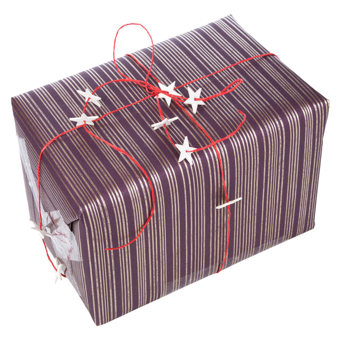 6x5m of Christmas Wrapping Festive Craft String Red Ribbon White Stars
