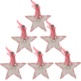 6 x Christmas Tree Decorations - Xmas Crafts - Grey Star, Bow & Bells