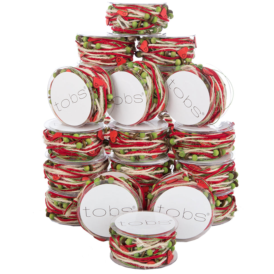 24 x5m Christmas Wrapping Festive Craft String Red Ribbon Green Hearts
