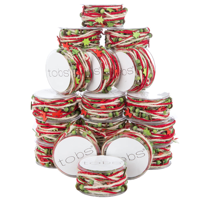 120m of Christmas Wrapping Festive Craft String Red Wool White Beads