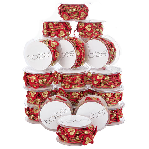 120m of Christmas Wrapping Festive Craft String Red String Gold Hearts