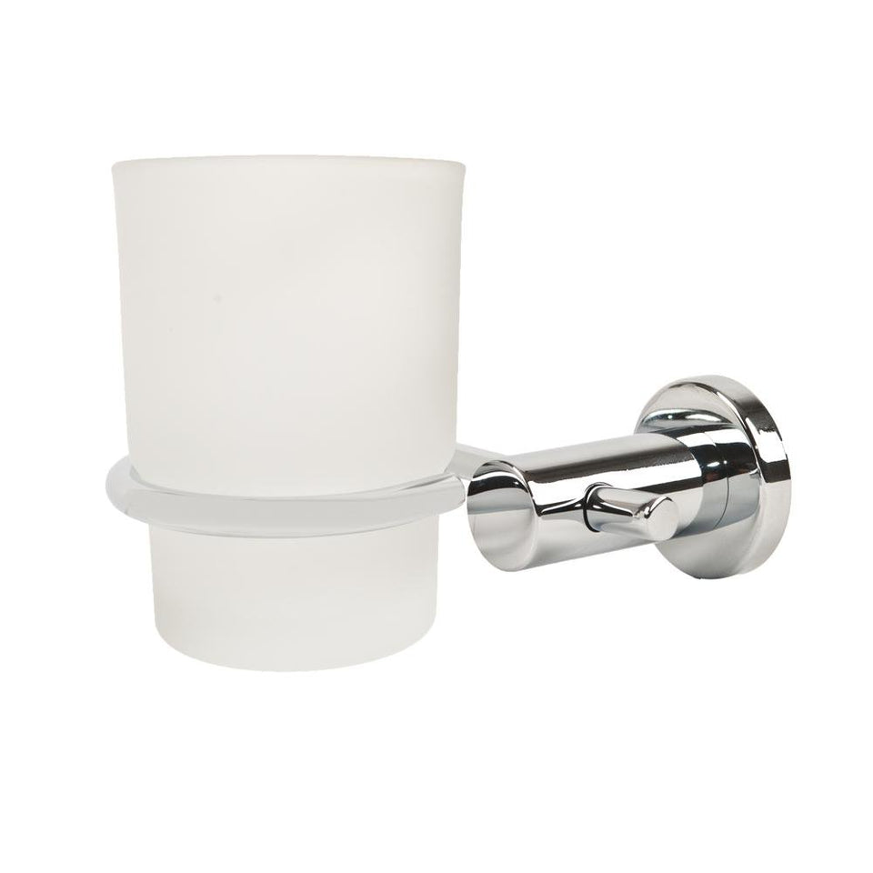 Triton Metlex Thames Frosted Glass Tumbler & Holder - Chrome