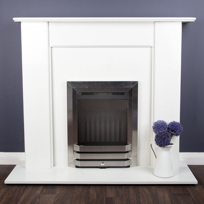 Multi-Flue Natural Gas Fire - Brushed Steel - Flame Effect Fire -610mm