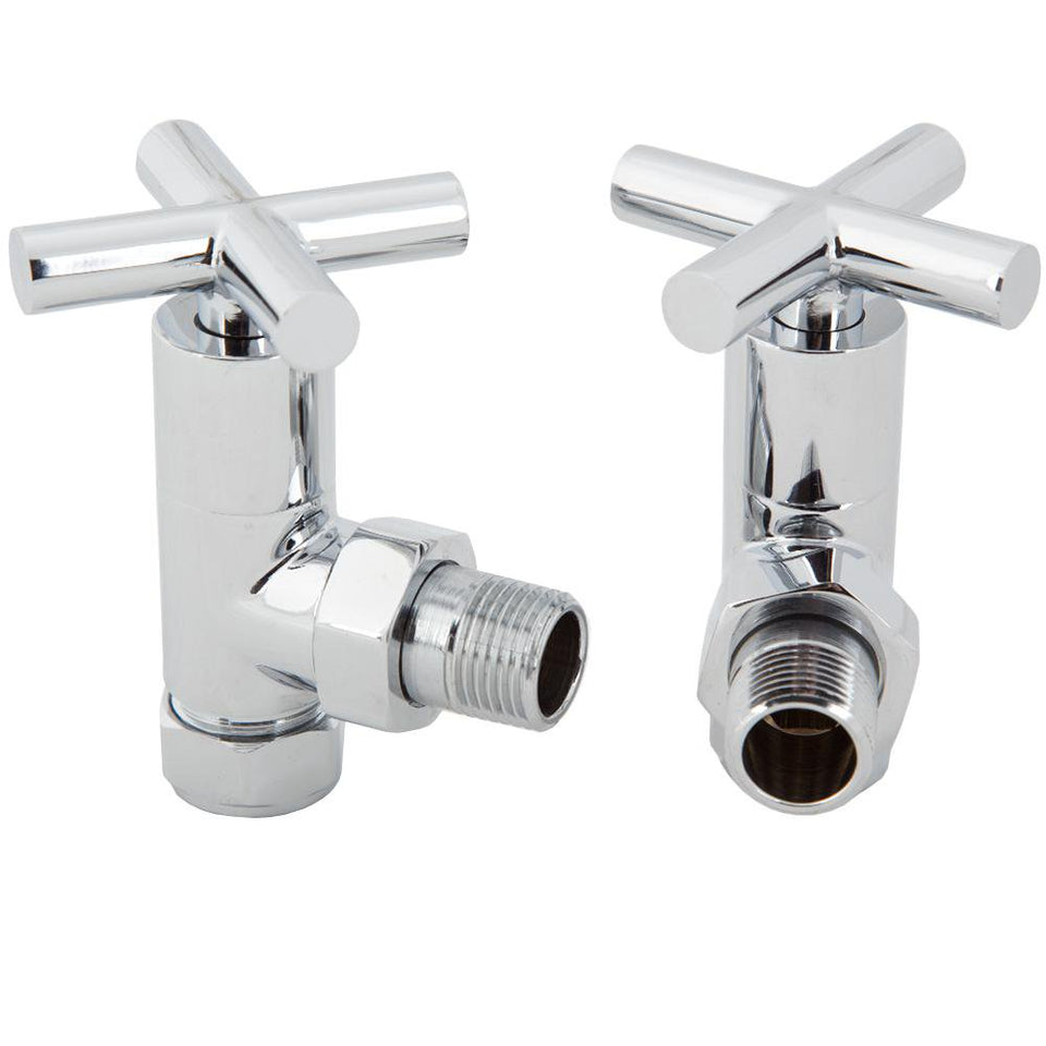Crosshead Angled Radiator Valve Set - Chrome - 1/2 Inch x 15mm