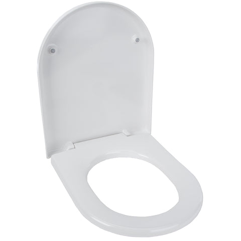 Home Bathroom Fixed WC Toilet Seat - Heavy Duty Plastic - White -46cm
