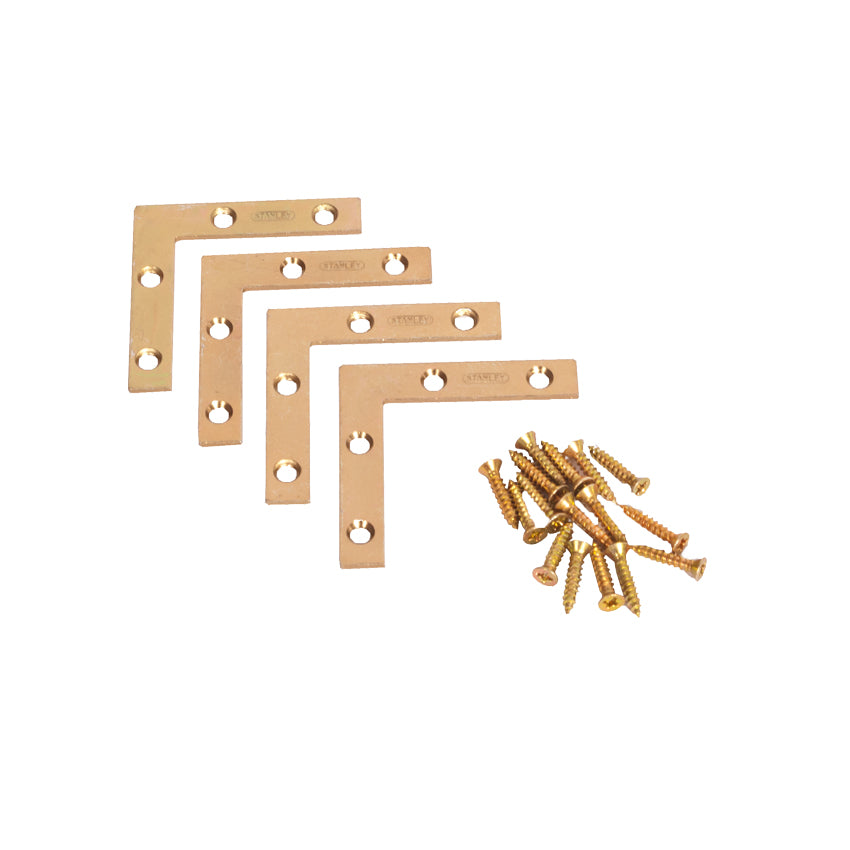 DIY & Tools - Stanley Flat Corner Brackets Satin Brass 50mm