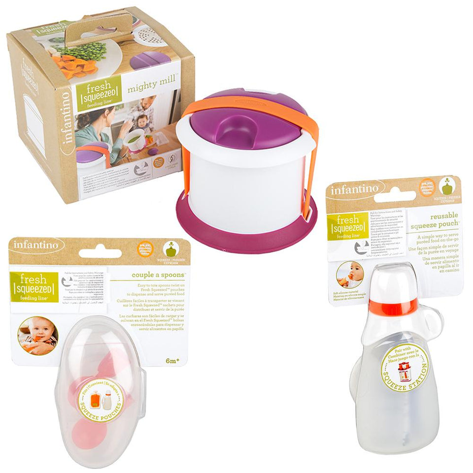 Baby & Child - Mighty Mill Food Press-Food Pouch & Spoon Set