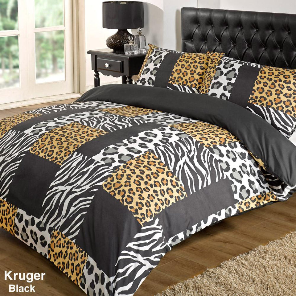 Textiles - Duvet Quilt Cover Bedding Set - Kruger Black - Super King